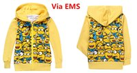 hoodies wholesale - Free EMS Kids Zipper Hoodies Coat Yellow Man Despicable Me Children Jacket Boys Girls Cartoon Minions Hooded Outfit Kids Clothing