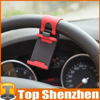 apple steering wheel - Retail Package Car Steering Wheel Mount Holder Rubber Holder For iPhone s plus iPod Samsung HTC MP4 GPS Cellphone