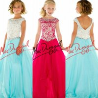 kids prom dresses - Custom Elegant Pageant Dresses for Girls Bateau Crystals Beads Kids Prom Dress Floor Length Zipper Little Girl Pageant Interview Outfits