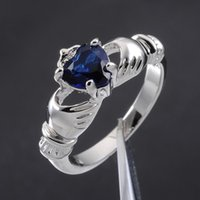 Wholesale Size Claddagh Lady s Blue Sapphire KT White Gold Filled Irish Wedding Ring for Love Friendship Loyalty