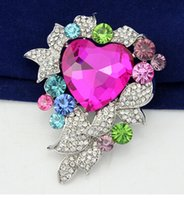 Bohemian stainless steel collar - bv Fashion Crystal Pink Heart Brooch Rhinestone Brooch Bridal Brooch Collar Pin Corsage Wedding Brooches Pin Brooch Bouquet