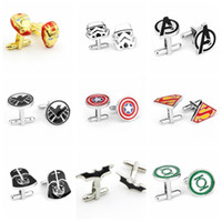 Wholesale 100PAIR LJJH894 Fashion Style Cufflink Superman Star Wars Batman spiderman Cufflinks Fathers Day Gifts For Mens Jewelry Cuff Links