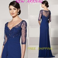 Wholesale M32 vestido mae da noiva plus size half sleeve beads custom made mother of the bride dresses vestidos prom evening dress