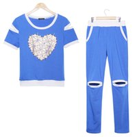 Cheap Alisister New fashion blue red gray Women sweat suits T shirt jogging pants 2 piece sets girls sport tracksuits clothing