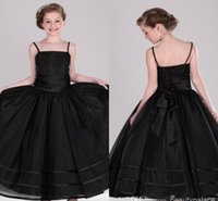 Wholesale A Line Spaghetti Straps Sweep Train Organza Black Flower Girl Dresses New Arrival Cheap Pageant Girls Dresses