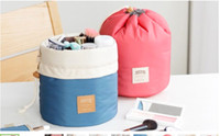 Wholesale Barrel Shaped Travel Cosmetic Bag Nylon High Capacity Drawstring Drum Wash Bags Makeup Organizer