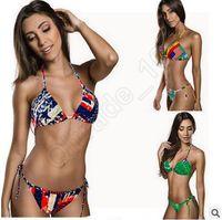 swimwear uk - 100ps CCA3617 High Quality Lady Bikini Union Jack Flag Swimwear UK Stars Stripes Flag Twist Padded Flag Halter Bathing Suit Flag Bikini