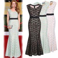 Wholesale 2015 New Lace Mermaid Runway Dresses V neck Zipper Back Ribbon Mermaid Floor Length Evening Party Dresses for Women