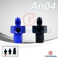 Wholesale PQY STORE AN AN4 Male to Female Twin quot NPT Gauge Sensor Side Port Adapter Black or Blue PQY SL9192