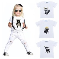 bear deer t shirt - Retail New INS Cartoon Animal Boys Girls T shirt Fox Bear Deer Owl Pattern Baby T Shirts Summer Style Short sleeve Kids Baby Clothes