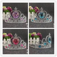 baby pin jewelry - Fashion frozen Crystal Tiaras Hair Sticks children baby crown hair pin pvc bows kids jewelry Hair Accessories Birthday Christmas gift