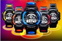 Wholesale Coolboos Childrens Watches for Boys and Girls Digital Watch for Kids Alarm Calendar Waterproof PU strap Sports Luminous Wristwatches