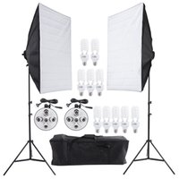 photo box - Photography Lighting Kit Photo Studio Video Light Stand Two Softbox Studio Soft Box Ten Bulbs Two Light Holder Set D1670