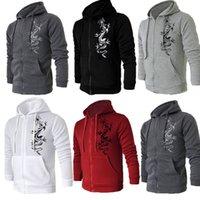 autumn tattoos - NEW Men Autumn Stylish Slim Fit Hooded Fleece Hoodies Chinese Dragon Tattoo Printing Jacket Male Cardigan Zipper Sweatshirt