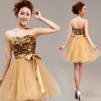 Cheap Short Gold Prom Dress Sequins Top Knee Length Strapless Teens Homecoming \ 8th Grade Graduation Dress Available Plus Size Fast Shipping