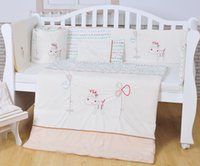 Cheap 2016 Year White 100% cotton Embroidery lovely pony baby bedding set quilt pillow bumper bed sheet 5 item crib bedding set A-1