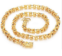 Wholesale Fast Fine Heavy Men k Yellow gold filled necklace Bracelet Set GF Curb chain free mens jewerly sets Necklace Bracelet