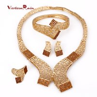 beauty brass sets - WesternRain Brown Rhinestone Charm Necklace Earrings Women Beauty Gold Plated African Jewelry Sets for women jewelr A336