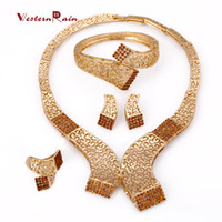 Celtic beauty brass sets - WesternRain Brown Rhinestone Charm Necklace Earrings Women Beauty Gold Plated African Jewelry Sets for women jewelr A336