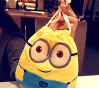 cute drawstring bag - 2015 Cute Designs Despicable Me Plush Bouquet Pocket Minions Drawstring Bags Sundry package Storage Bag Gift Candy Key Pack D3369