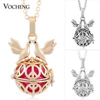 ball chain brass plate - VOCHENG Ball Harmony Angel Locket Colors Angel Copper Matal Chime Pendant Maternity Necklace VA