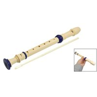 Wholesale Students Plastic Holes Soprano Recorder Flute Beige Blue w Cleaning Stick IN STOCK order lt no track