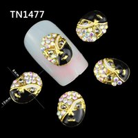art operas - Top Nail Opera Face Design Manicure Tips Glitter AB Rhinestones Gold Black Alloy For Charms D Nail Art Decorations TN1477