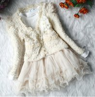 Wholesale Girls Autumn Sets Baby Long Sleeve Coat Lace Skirt Sets Children s Girl Outfits Kids Clothing WD907
