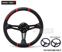 fuel pump - Tansky New quot Black PU Sport Spoke Car Racing Steering Wheel Horn Button Blue Yellow RED TK FXP01MO P