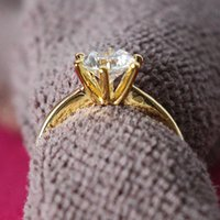 24k solid gold ring - Graceful Ring CT Solid K Yellow Gold Plated Royal Crown Design SONA Synthetic Diamond Propose Marriage Jewelry Silver