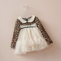 Wholesale Girls New Dress Pleuche leopard yarn little collar dress veil dress kids fashion clothing high quality jin