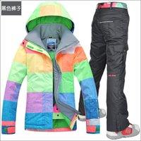 Wholesale Gsou women s snow ski suit set monoboard ski suit skiing clothing skiing jacket and pants women waterproof winproof K