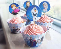 cupcake toppers - Frozen Party Decorations Event Cupcake Wrappers Elsa Anna Princess Kristoff Cup Cake Toppers Picks Kids Birthday Supplies Party Favors