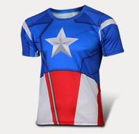 fitness wear training wear - 2015 new arrival America captain compression men t shirts Training Sport Running Gym cloth Exercise Fitness Tight Compression fitness wear