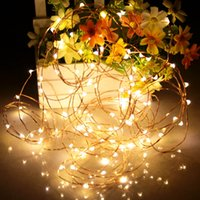adapter copper wire - LED String Light m leds Copper Wire Fairy Lights with Power Adapter Controller Christmas New Year Wedding Decoration Lights DHL L0821