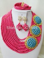 Wholesale New Fuchisa Pink Blue Brooches Turquoise beads nigerian wedding african beads jewelry set costume jewelry set VC992
