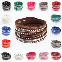 leather bracelets for men - Fashion Rhinestone bracelet Sparkling Crystal Multilayer Leather Wrap Bracelet Christmas Gift Charm Bracelets Vintage Jewelry for Man women