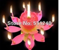 Wholesale 10pcs Beautiful Music Blossom Lotus Flower Candle Birthday Party Music