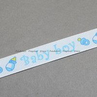 baby shower words - Baby Shower Ornaments Decorations Word Baby Boy Printed Polyester Grosgrain Ribbons LightSkyBlue mm about yards roll