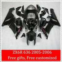 best free compression - Fairing For KAWASAKI Ninja ZX6R ZX R ZX R Best selling Total Glossy Black Body kit With Free Gifts
