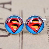 Wholesale New European and American style superhero series superman logo plating silver cufflinks men s time gemstone cufflinks men s jewelry