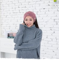Wholesale New Korea floral Pearl knitted wool headband hair accessories headwear