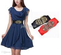 stretch belts - Retro Fashion adjustable Flower Elastic Stretch Buckle Wide Waist Belt Waistband