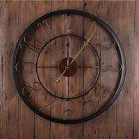 Cheap Antique Style Large Round Wall Clocks Classical Europe American Metal Ring Quartz Wall Clocks Bronze Wall Clocks Decor GZ16007