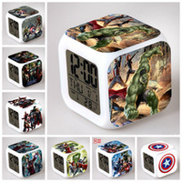 Color Changing avengers products - USA captain peripheral products the Avengers America captain multifunctional LED night light touch edition alarm clock