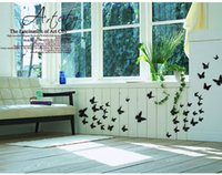 Wholesale baby sweet d butterfly Wall Decor solid colors butterfly decoration wall stickers pc set d PVC butterflies removable wall stickers