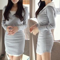 Wholesale Women Dress New Fashion Contrast Hooded Neck Long Sleeve Faux Two Piece Mini Dress High Street vestidos Grey G0939