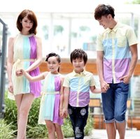 baby girl dreses - Family Clothing Kid Girls Moms Pleated Colorful Pleated Chiffon Dreses Baby Boy Dads Cotton Tshirts Famiy Dress Alikes Clothes J5040