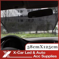Wholesale Auto Retractable Silver Black UV Protection Front Windshield SunShade Car PullRoll Rear Rewinding Visor Cover Sunshield x125cm