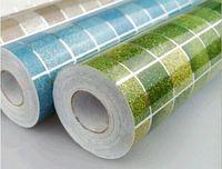 Cheap 45x200cm Anti Oil Wallpaper Mosaic Gray Aluminum Foil for Kitchen High Temperature Resistant Bath Waterproof Wallpaper